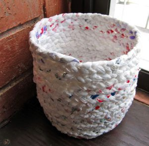 basket made from household waste plastic bags